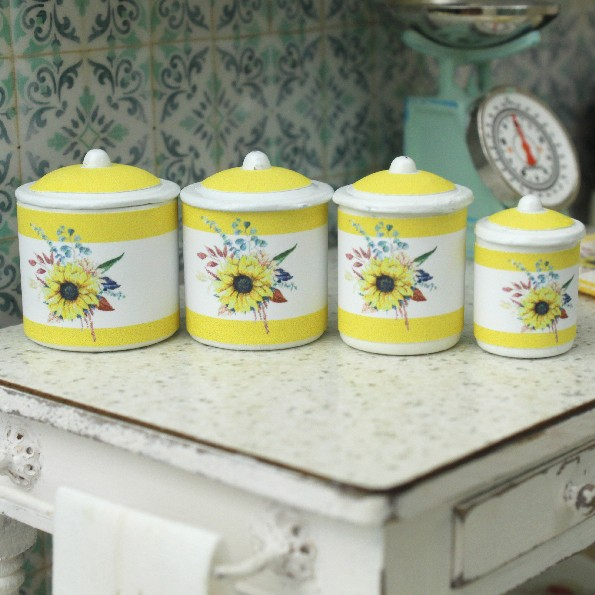 1 12 Scale Metal Kitchen Canisters For Dollhouse Miniatures